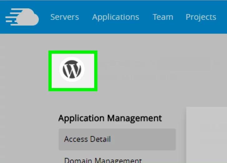 وردپرس را انتخاب کنید و برنامه و سرور خود را نام ببرید