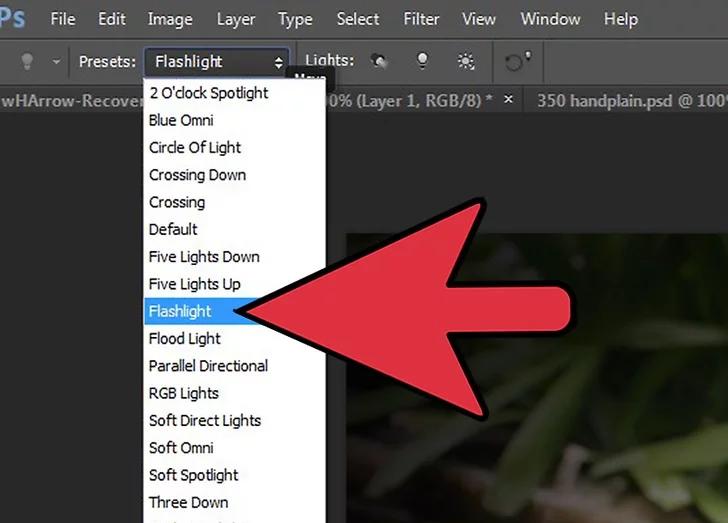 گزینه Flashlight را انتخاب کنید.