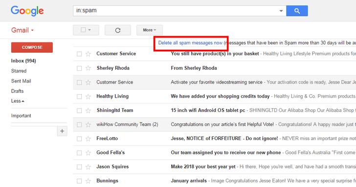نحوه پاک کردن ایمیل های اسپم در جیمیل