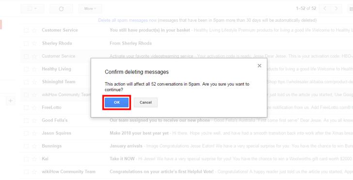 تأیید پاک کردن ایمیل های اسپم در جیمیل