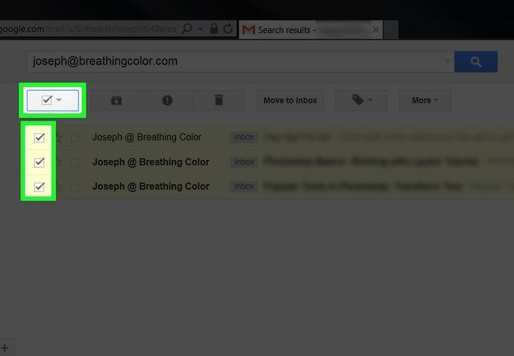 حذف ایمیل از یک فرستنده خاص