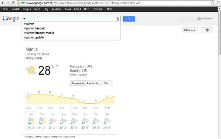 نحوه دریافت گزارش آب و هوا با استفاده از Google Instant
