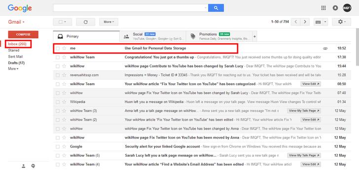 پوشه inbox در جیمیل