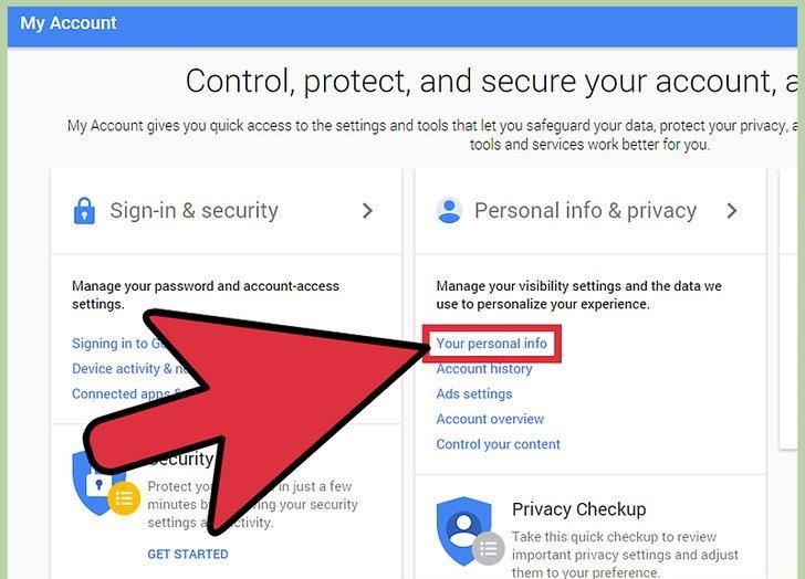 دیدن اطلاعات شخصی حساب گوگل برای حذف کردن