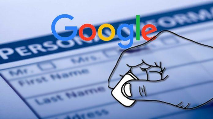 نحوه حذف اطلاعات شخصی از گوگل
