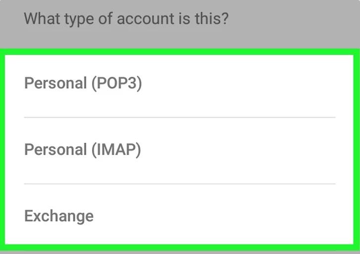 انتخاب POP3 و IMAP