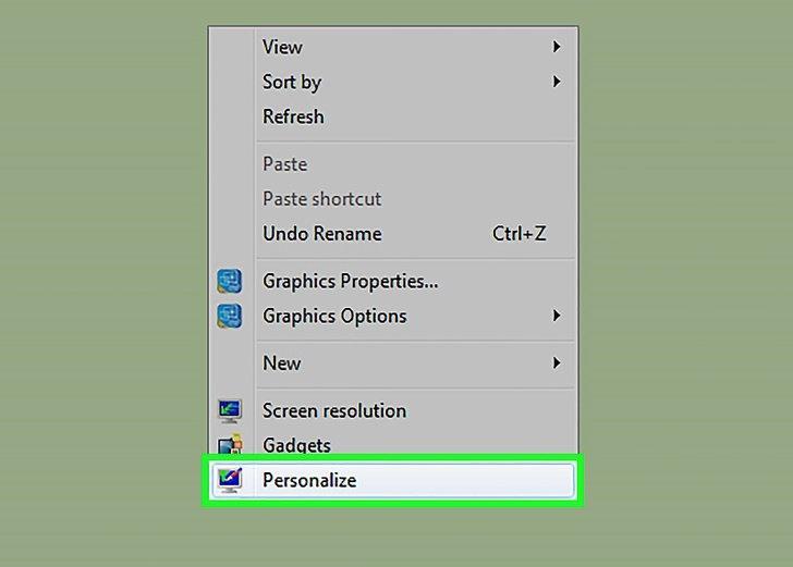 انتخاب گزینه personalize برای عوض کردن عکس صفحه