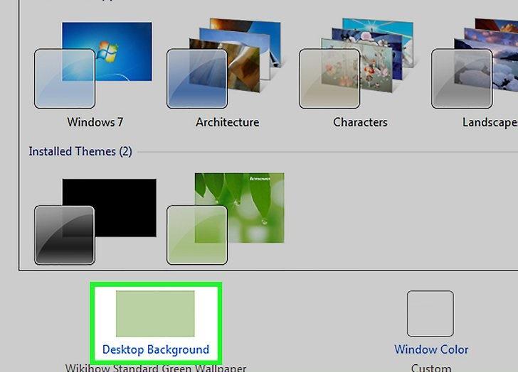 گزینه desktop background برای تغییر عکس پس زمینه