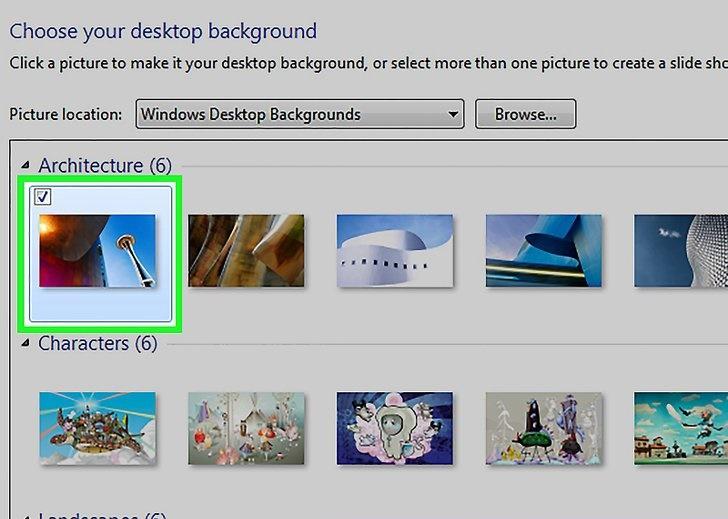 انتخاب عکس پس زمینه در ویندوز 7 و 8
