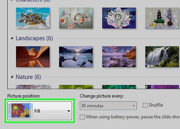 انتخاب سایز عکس پس زمینه کامپیوتر در ویندوز 7 و 8
