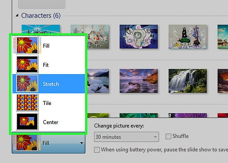 انتخاب موقعیت عکس صفحه نمایش