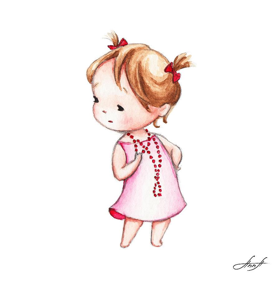 عکس نقاشی دختر فانتزی بانمک