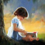 نقاشی دختر کوچولو در طبیعت