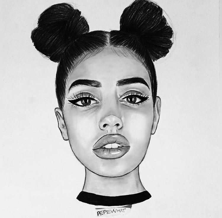 عکس نقثاشی دختر با موهای بسته