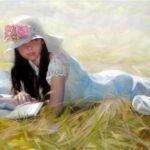 تابلو زیبا از نقاشی دختر در طبیعت