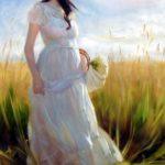 نقاشی دختر ساده با رنگ روغن