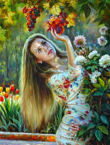 عکس نقاشی رنگ روغن دختر فانتزی