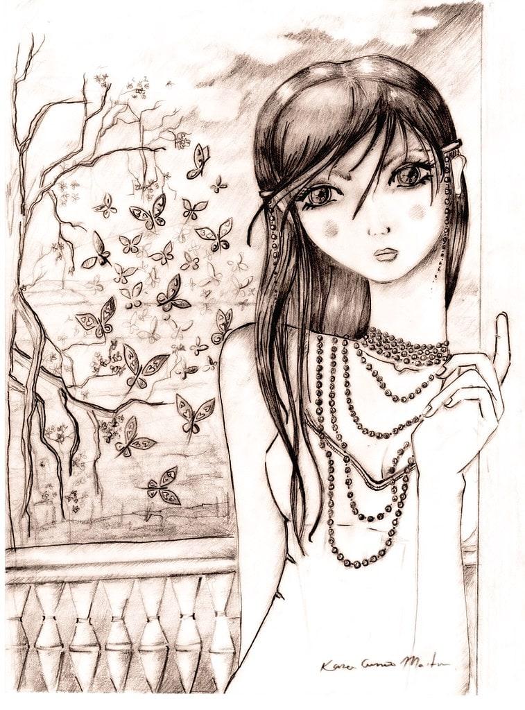 عکس نقاشی دختر فانتزی سیاه و سفید