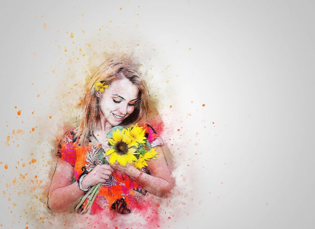 عکس نقاشی دختر فانتزی شاد