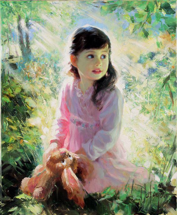 عکس نقاشی دختر فانتزی در طبیعت