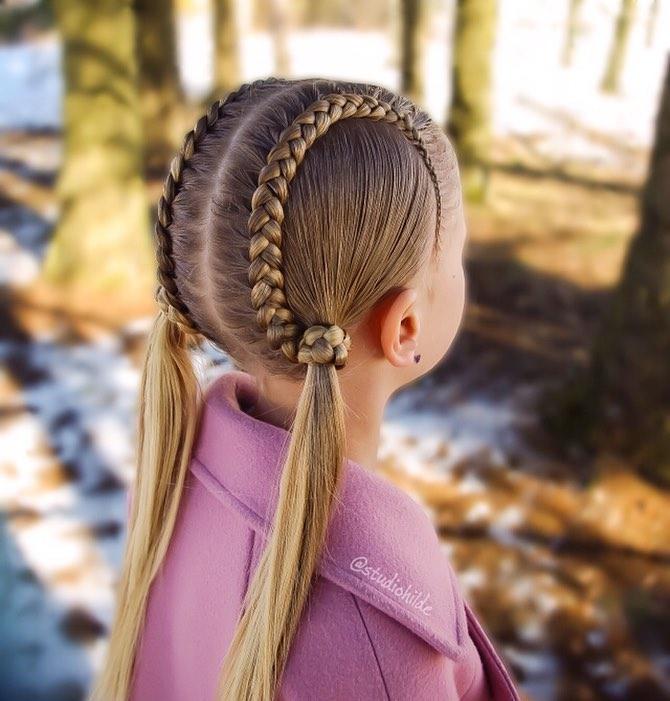 مدل بافت مو دخترانه فرانسوی دو ردیفه