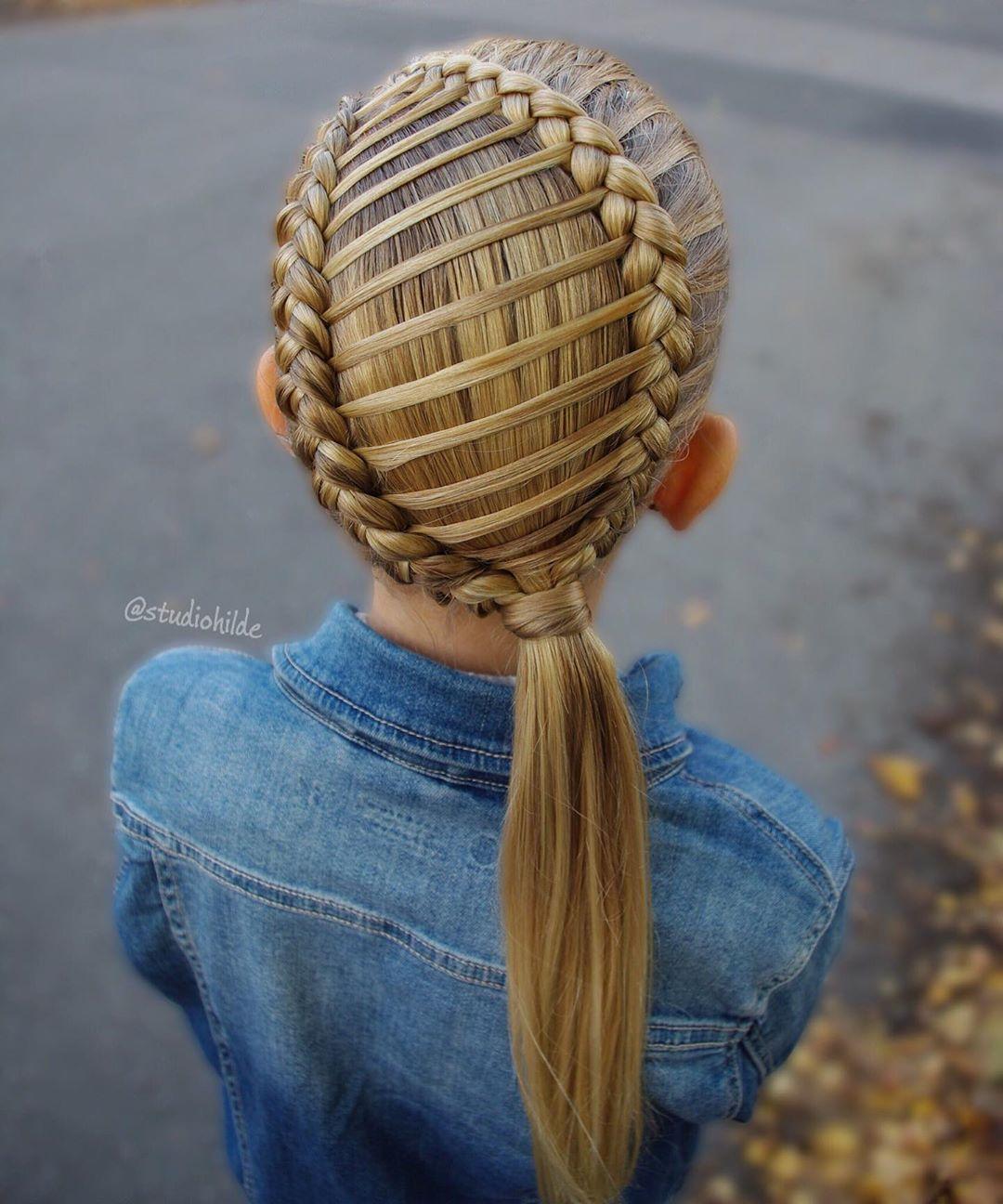 مدل بافت مو دخترانه حصیری فرانسوی