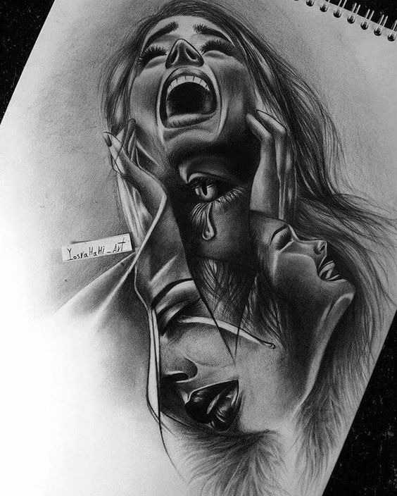 عکس نقاشی دختر سیاه قلم مدرن