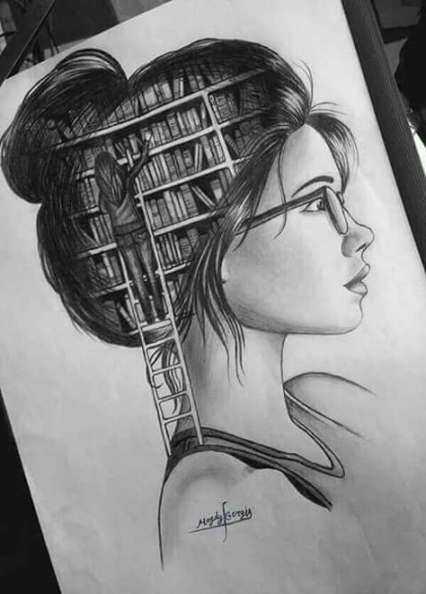 عکس نقاشی دختر فانتزی با سیاه قلم