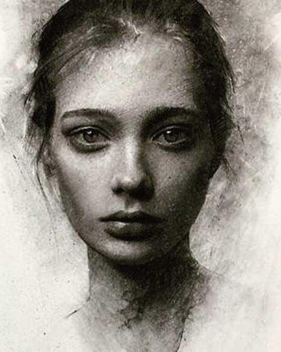 عکس نقاشی دختر سیاه قلم