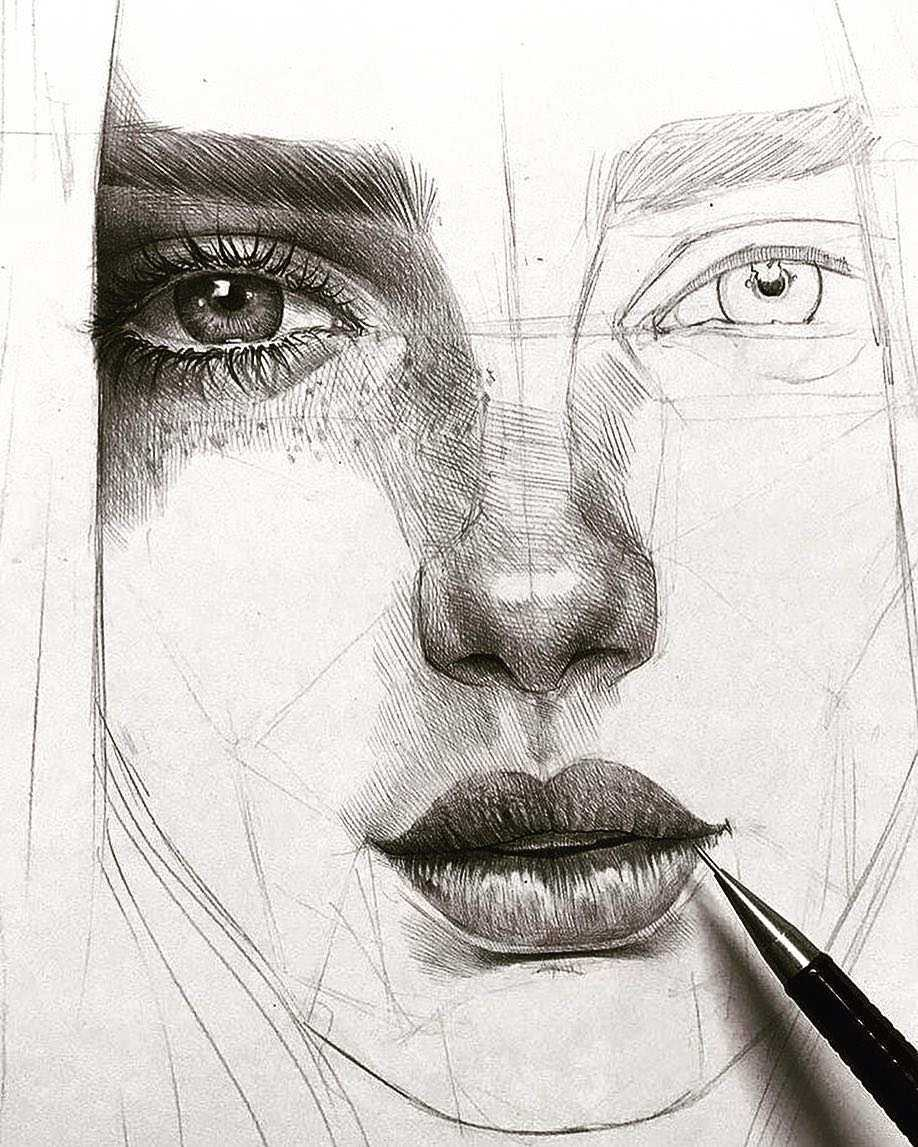 عکس نقاشی دختر طراحی با سیاه قلم