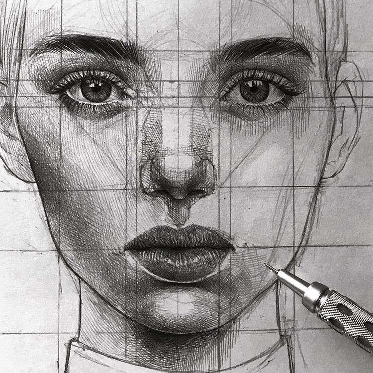 عکس نقاشی دختر طراحی با سیاه قلم و مداد مشکی