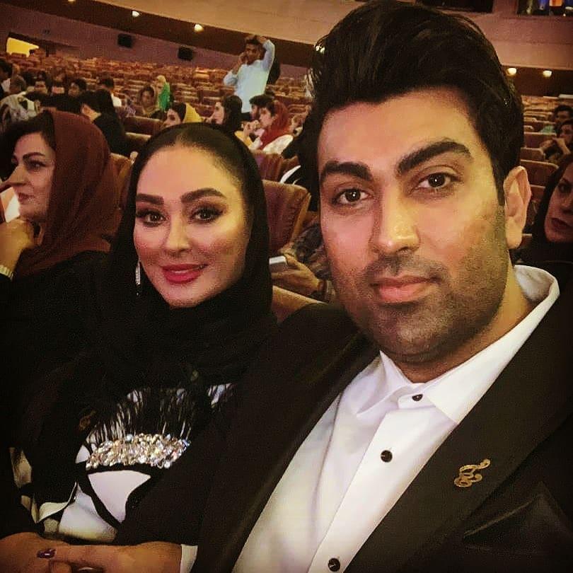 عکس الهام حمیدی و همسرش در جشن حافظ 98