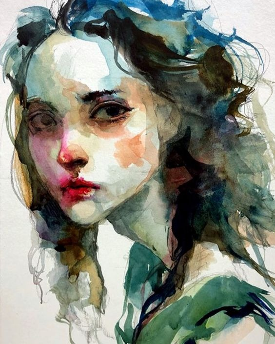 عکس نقاشی دختر آبرنگی بسیار زیبا