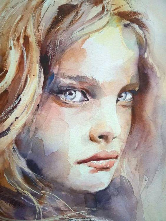 عکس نقاشی دخترونه آبرنگی بسیار زیبا