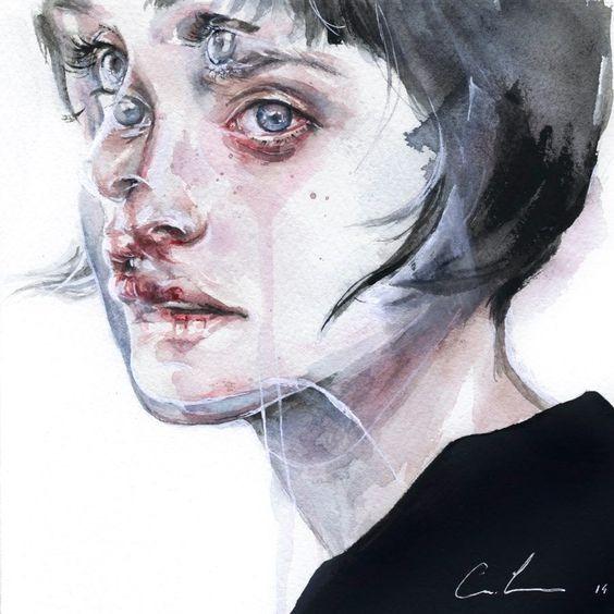 عکس نقاشی دختر با آبرنگ که بسیار خاص و جدید است