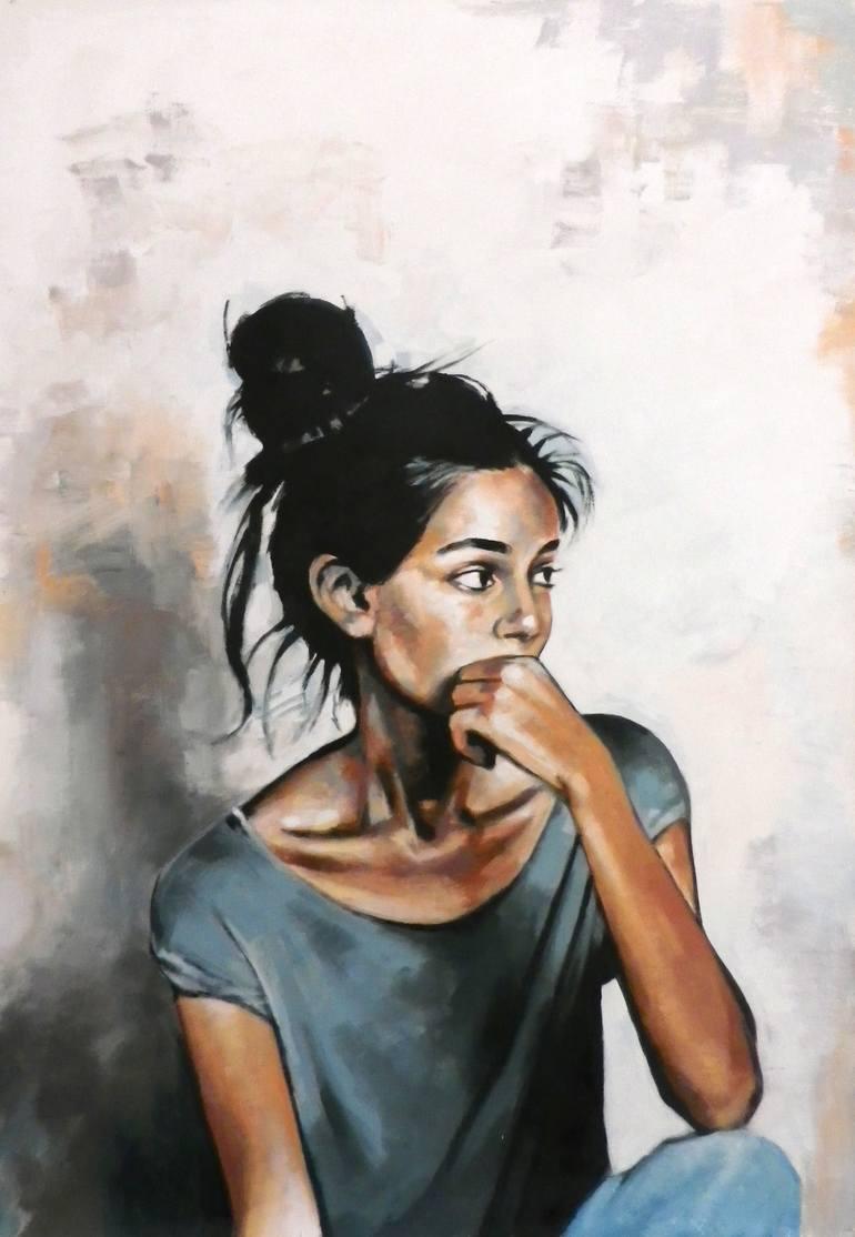 عکس نقاشی دختر غمگین با آبرنگ