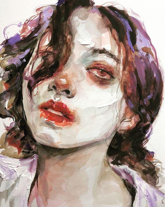 عکس نقاشی دختر با موهای آشفته و غمگین مناسب طراحی با آبرنگ