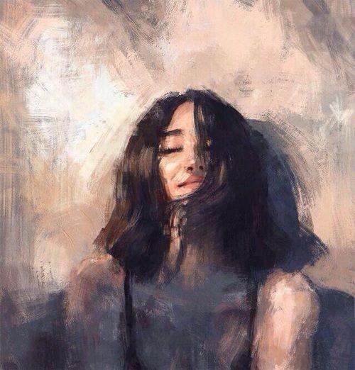 عکس نقاشی دختر زیبا که با آبرنگ کشیده شده