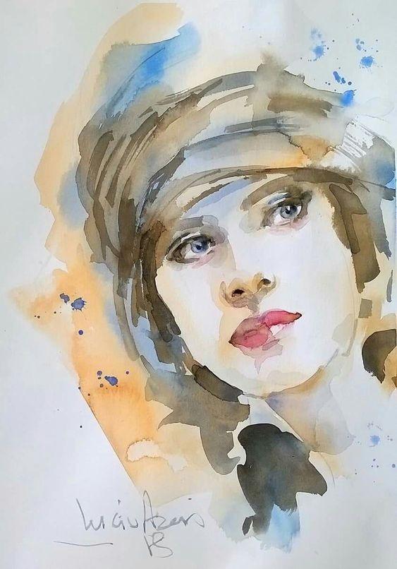 عکس نقاشی دختر با آبرنگ