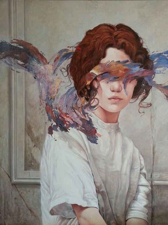 عکس نقاشی دختر موفرفری با آبرنگ