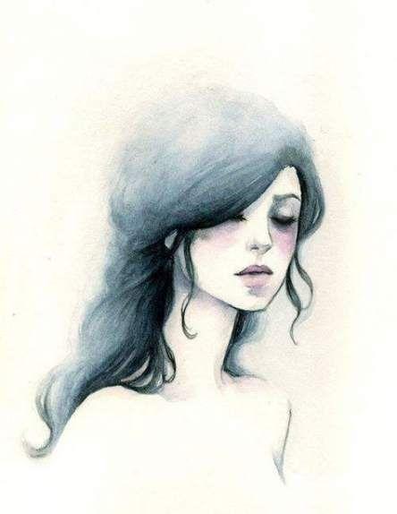 عکس نقاشی دختر ساده با آبرنگ