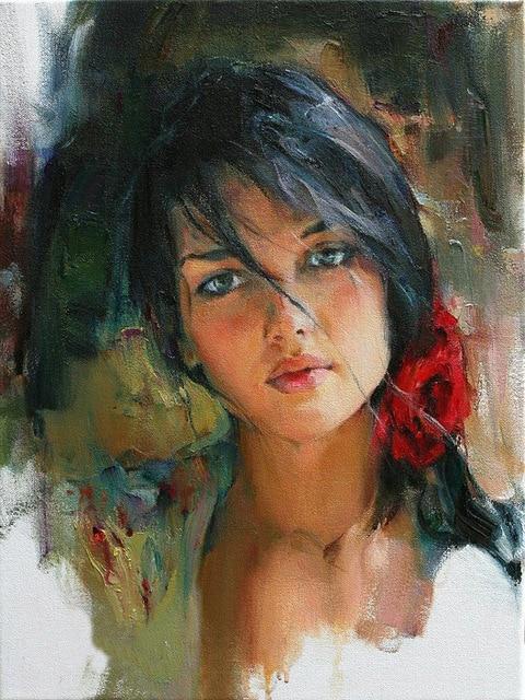 عکس نقاشی دختر با آبرنگ بسیار زیبا و خوش رنگ