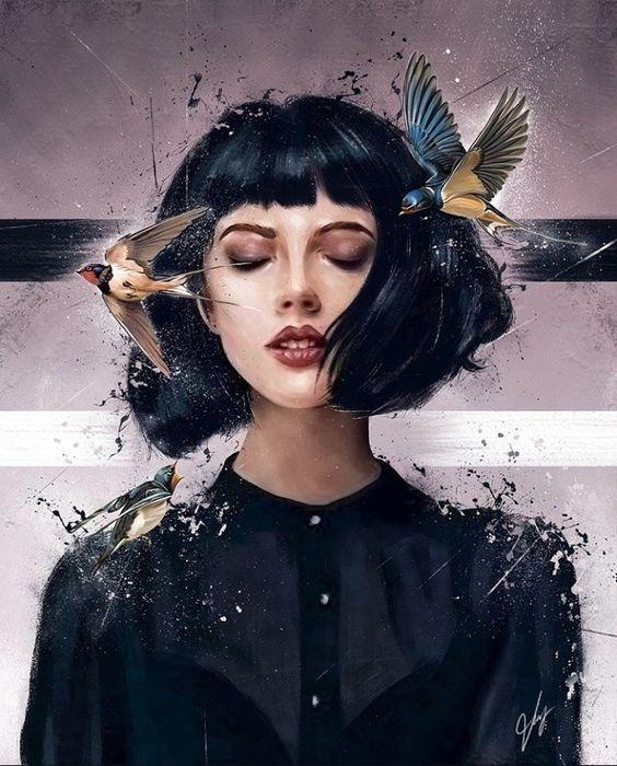 عکس نقاشی دخترونه فانتزی جدید با آبرنگ بسیار زیبا