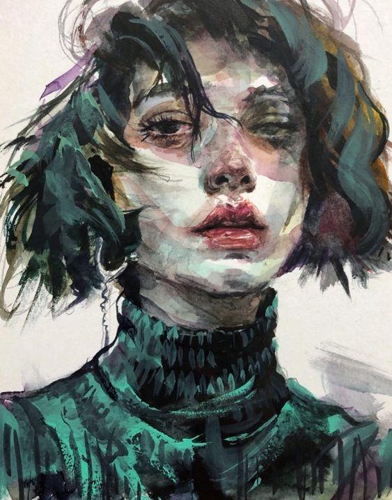 عکس نقاشی دختر زیبا با آبرنگ