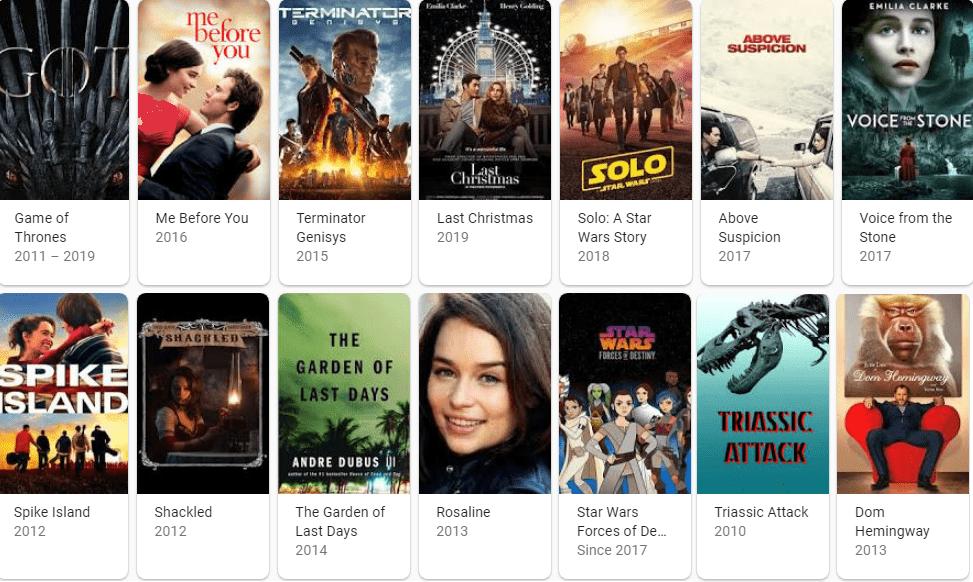 لیست فیلم های امیلیا کلارک