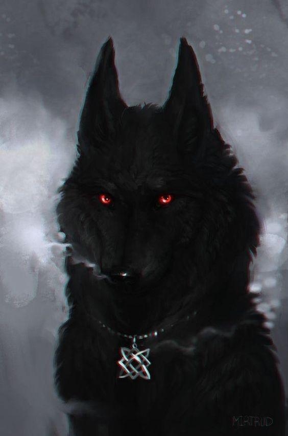 عکس نقاشی گرگ ترسناک در شب