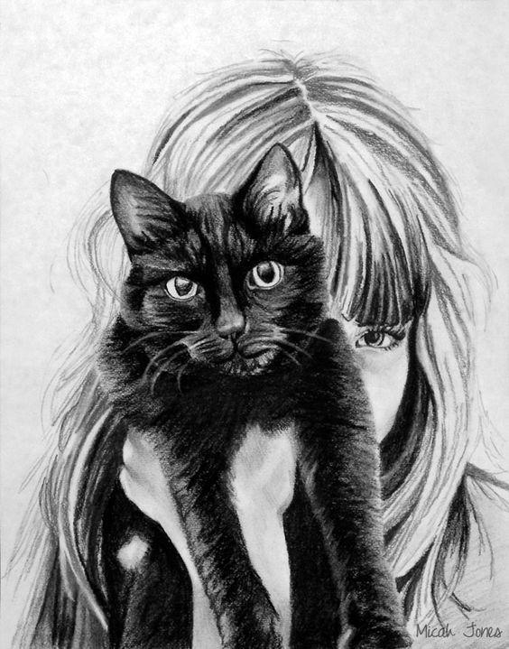 نقاشی فانتزی سیاه و سفید دخترونه