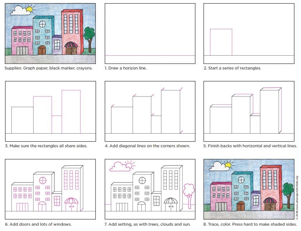آموزش مرحله به مرحله نقاشی سه بعدی ساختمان برای کودکان