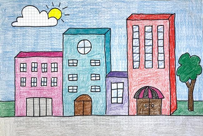 آموزش نقاشی سه بعدی ساختمان به صورت ساده برای کودکان