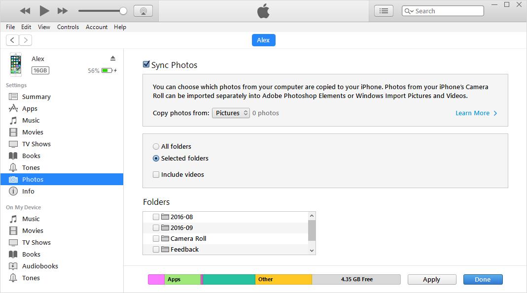 نحوه انتقال عکس ها از iPhone به PC با استفاده از iTunes